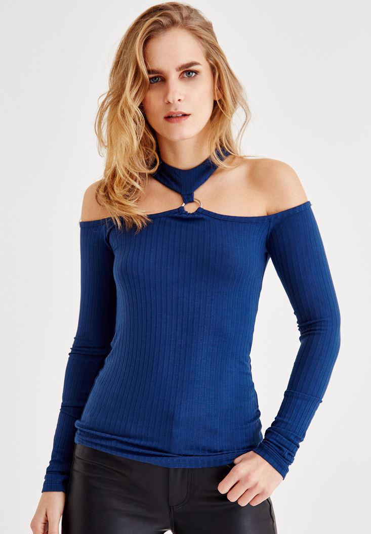 Bayan Mavi Omuz Dekolteli Halka Detaylı Bluz