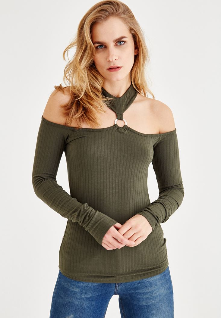 Green Blouse with Ring and Shoulder Detail