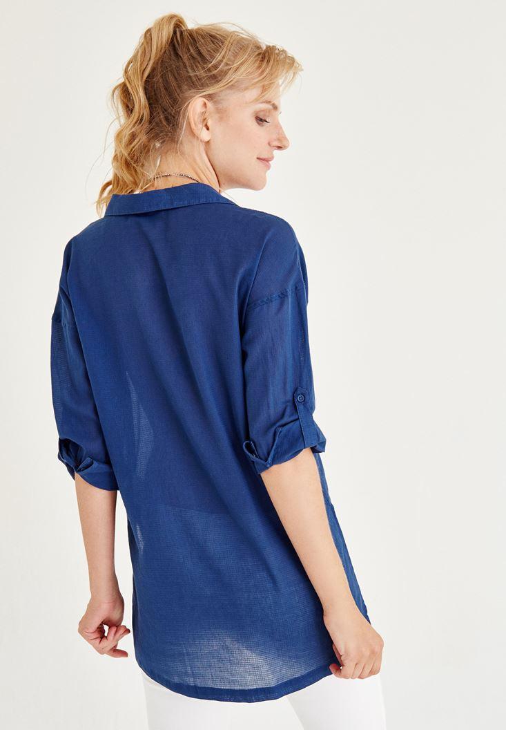 Bayan Mavi Cep Detaylı Gömlek