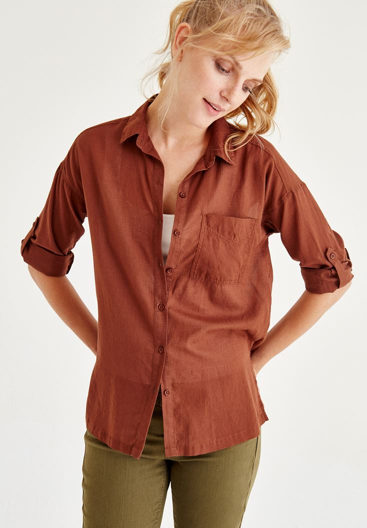 Bayan Kahverengi Cep Detaylı Gömlek
