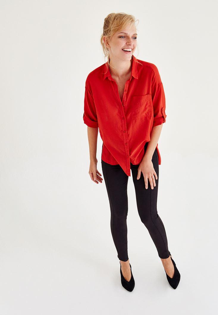 Bayan Kırmızı Cep Detaylı Gömlek