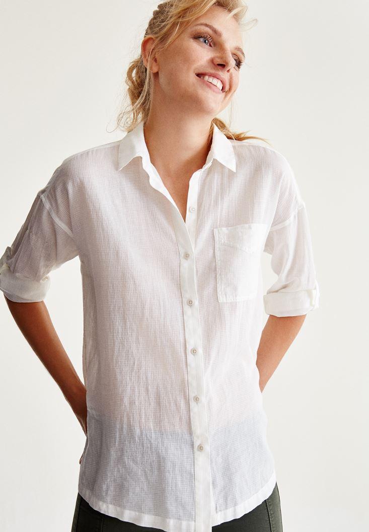 Bayan Krem Cep Detaylı Gömlek