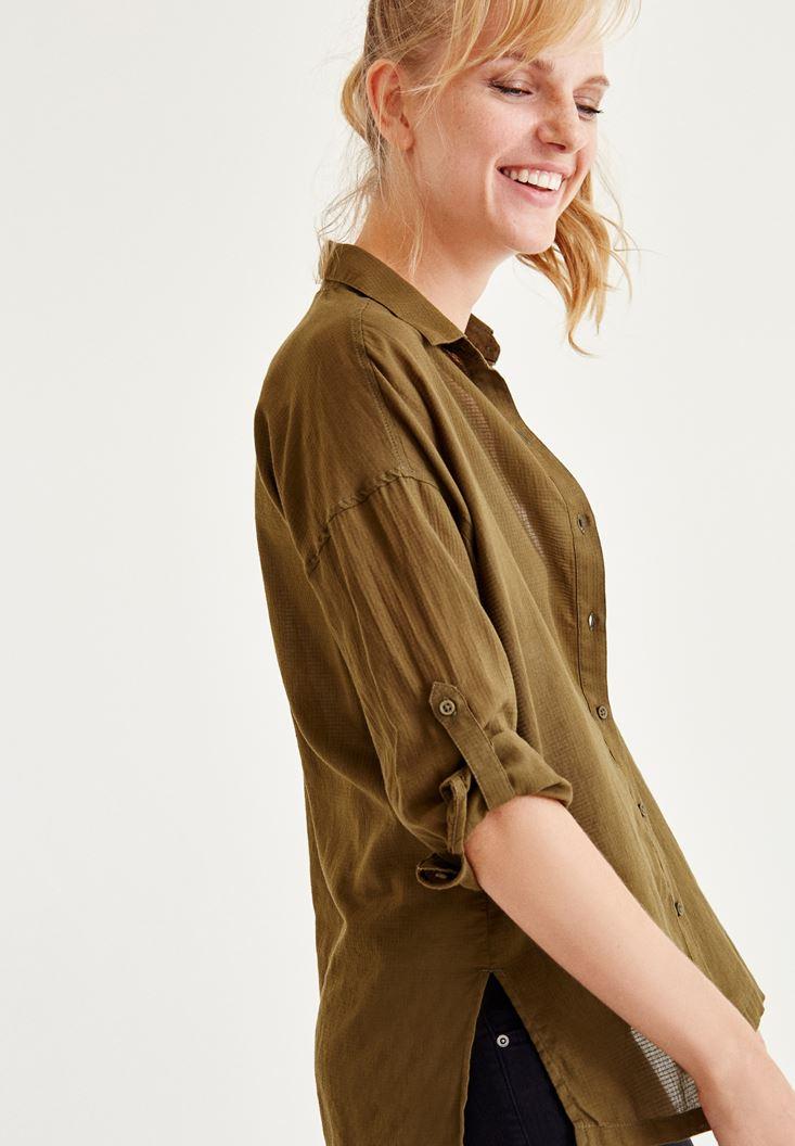 Yeşil Cep Detaylı Gömlek
