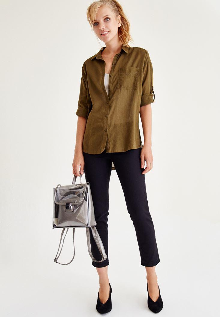 Bayan Yeşil Cep Detaylı Gömlek