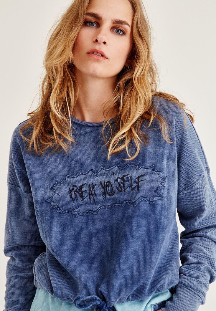Bayan Mavi Baskılı Bağlama Detaylı Sweatshirt
