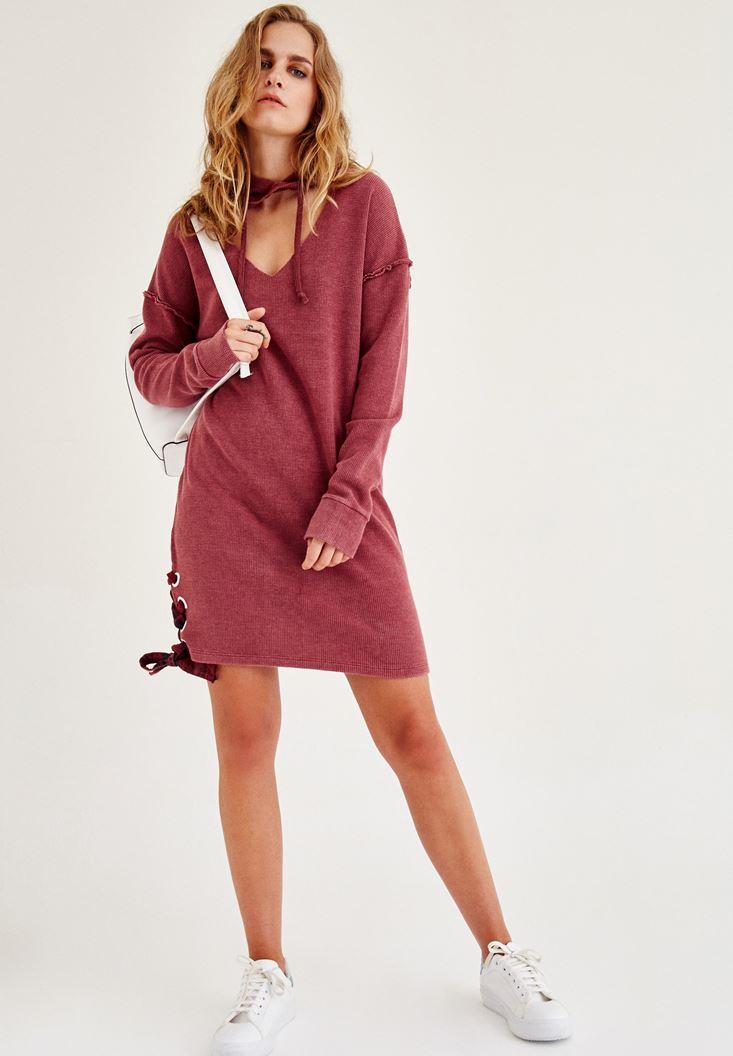 Bayan Bordo Kapüşonlu  Kısa Elbise