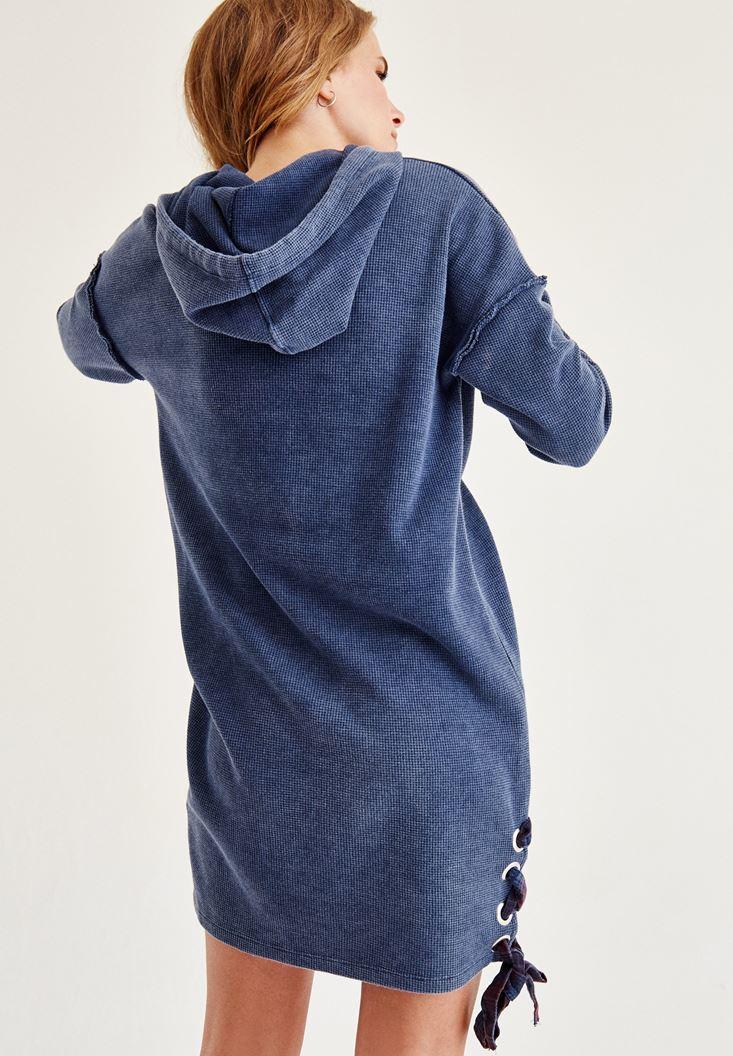 Bayan Mavi Kapüşonlu  Kısa Elbise
