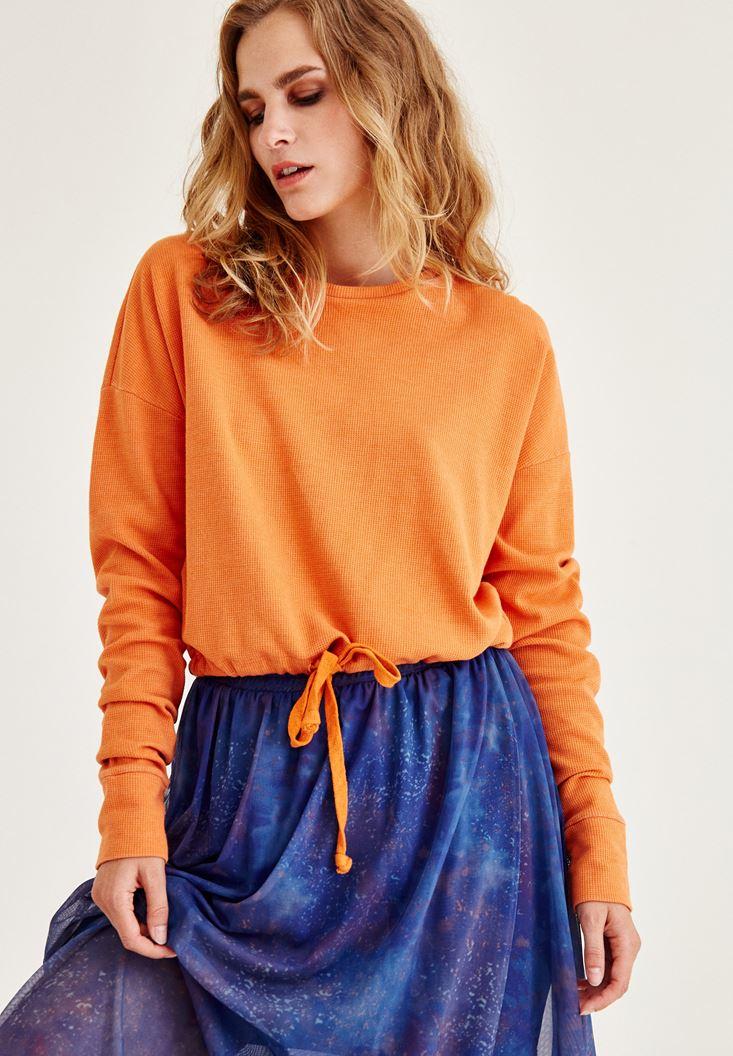 Turuncu Büzgülü Sweatshirt