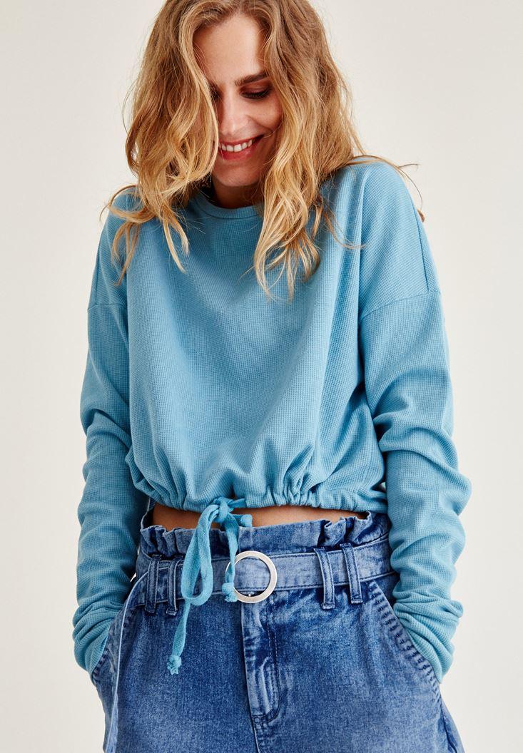 Mavi Büzgülü Sweatshirt