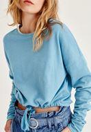 Bayan Mavi Büzgülü Sweatshirt