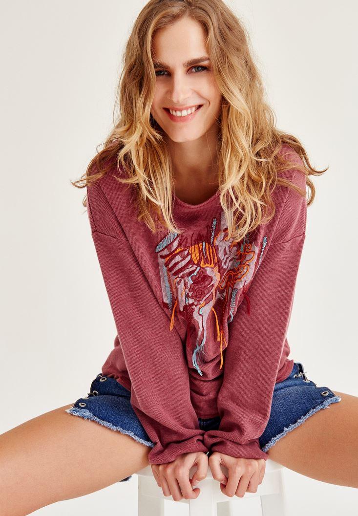 Bayan Bordo İşleme Detaylı Sweatshirt