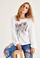 Bayan Krem İşleme Detaylı Sweatshirt