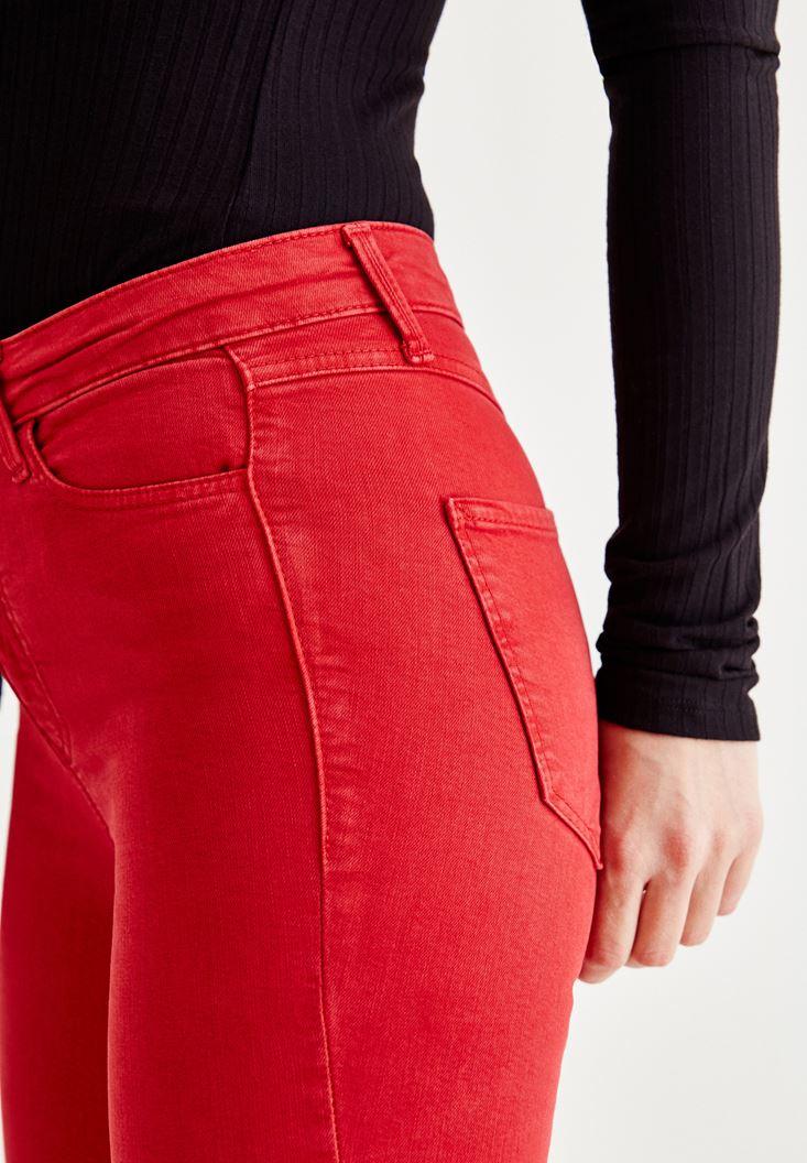 Bayan Beyaz Yüksel Bel Dar Paça Pantolon