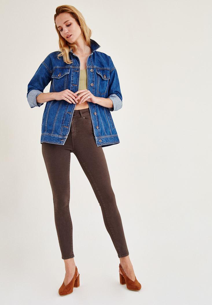 Kahverengi Yüksek Bel Dar Paça Skinny Pantolon