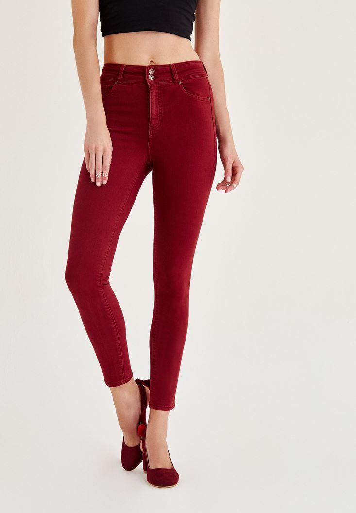 Bayan Bordo Yüksek Bel Dar Paça Skinny Pantolon