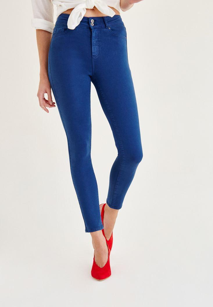Mavi Yüksek Bel Dar Paça Skinny Pantolon