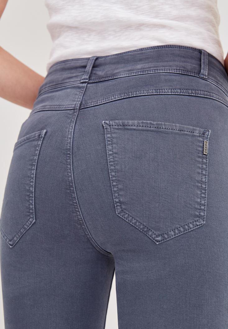 Bayan Gri Yüksek Bel Dar Paça Skinny Pantolon