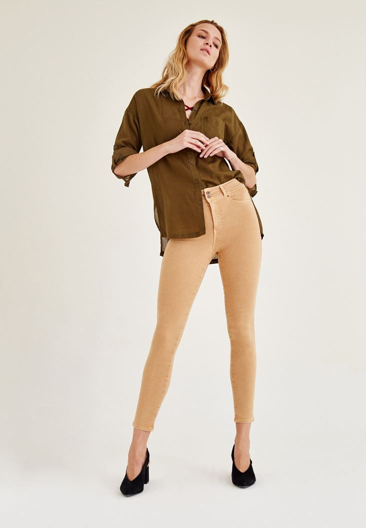 Brown High Rise Skinny Ankle Pants