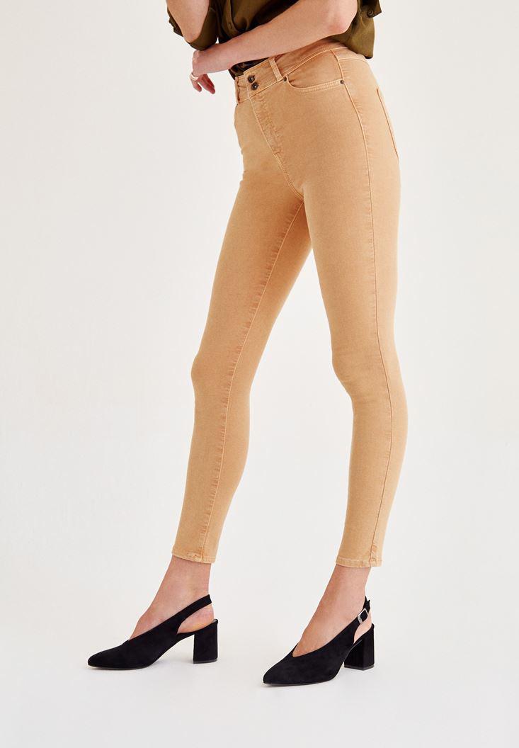 Bayan Kahverengi Yüksek Bel Dar Paça Skinny Pantolon