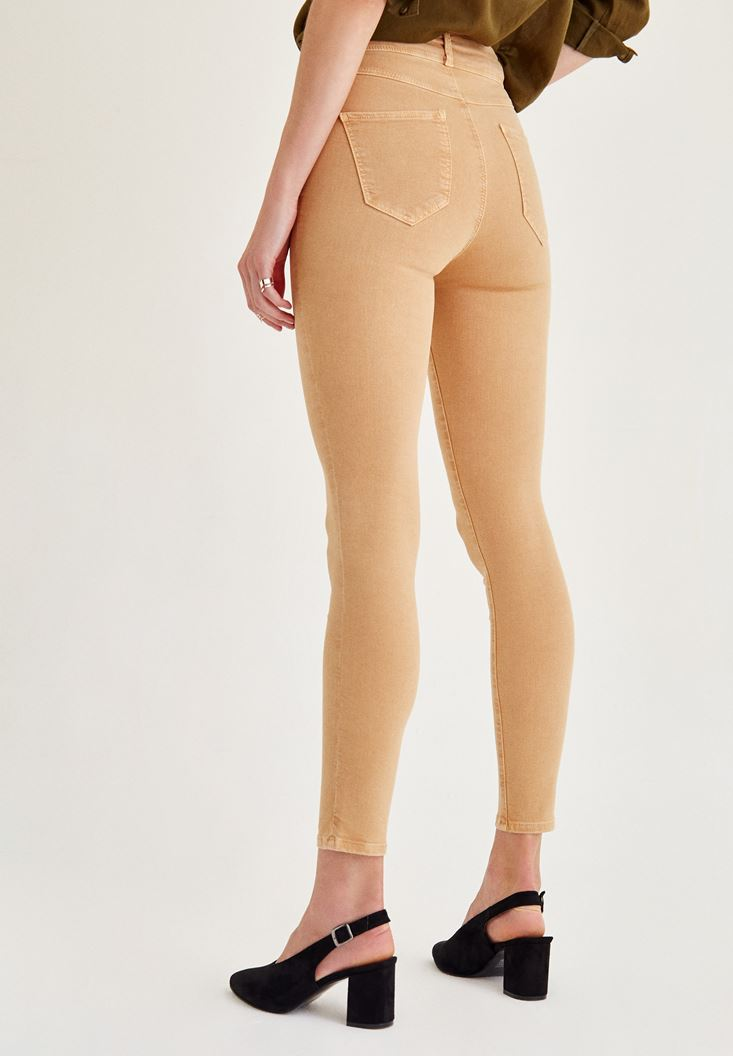 Women Brown High Rise Skinny Ankle Pants