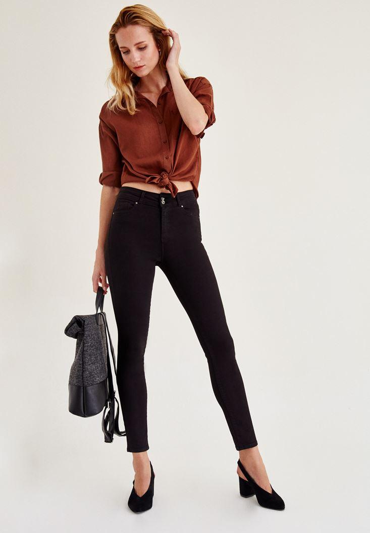 Bayan Siyah Yüksek Bel Dar Paça Skinny Pantolon