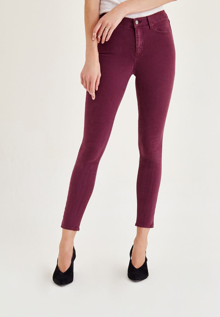 Bordo Orta Bel Dar Paça Skinny Pantolon