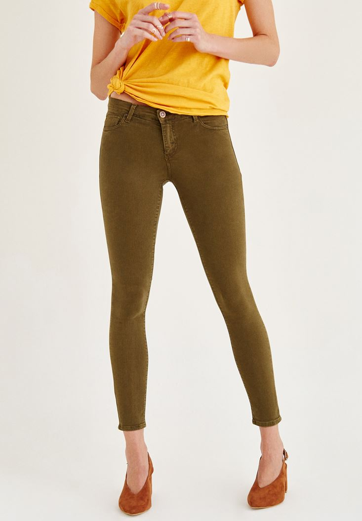 Green Mid Rise Ankle Skinny Leg Pants