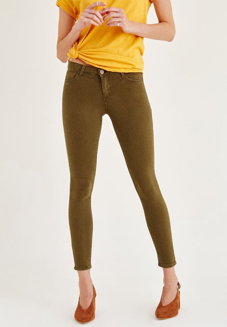 Yeşil Orta Bel Dar Bilek Paça Skinny Pantolon
