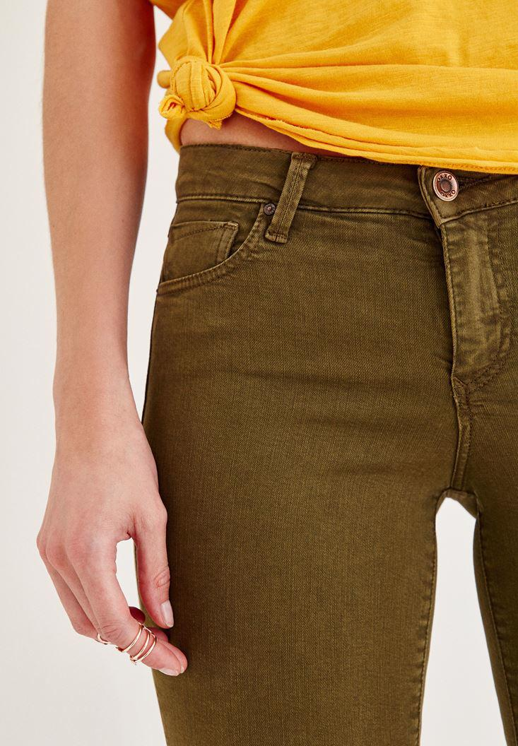 Women Green Mid Rise Ankle Skinny Leg Pants