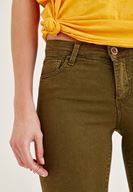 Bayan Yeşil Yüksel Bel Dar Bilek Paça Skinny Pantolon