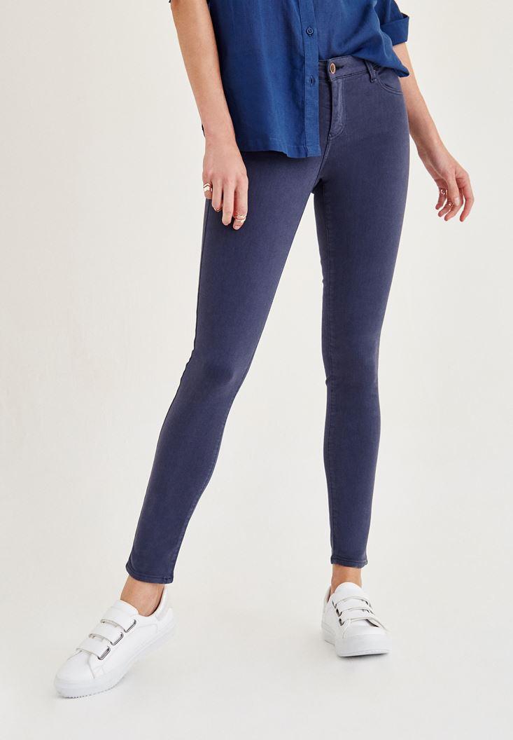 Bayan Lacivert Yüksel Bel Dar Bilek Paça Skinny Pantolon