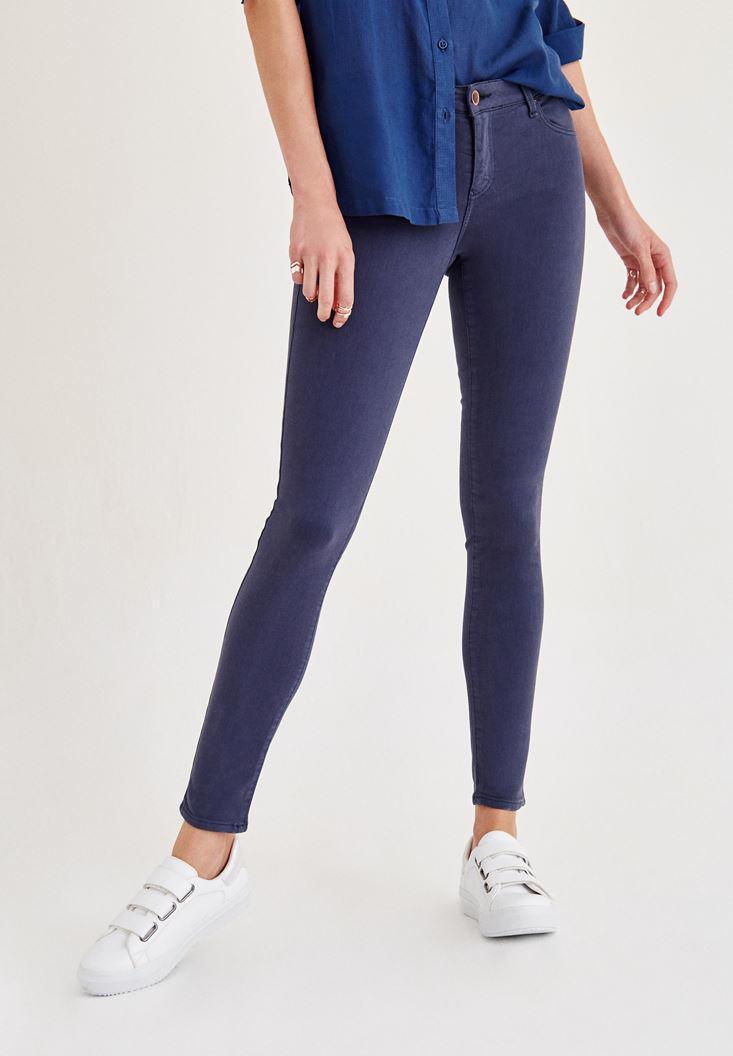 Women Navy Mid Rise Ankle Skinny Leg Pants
