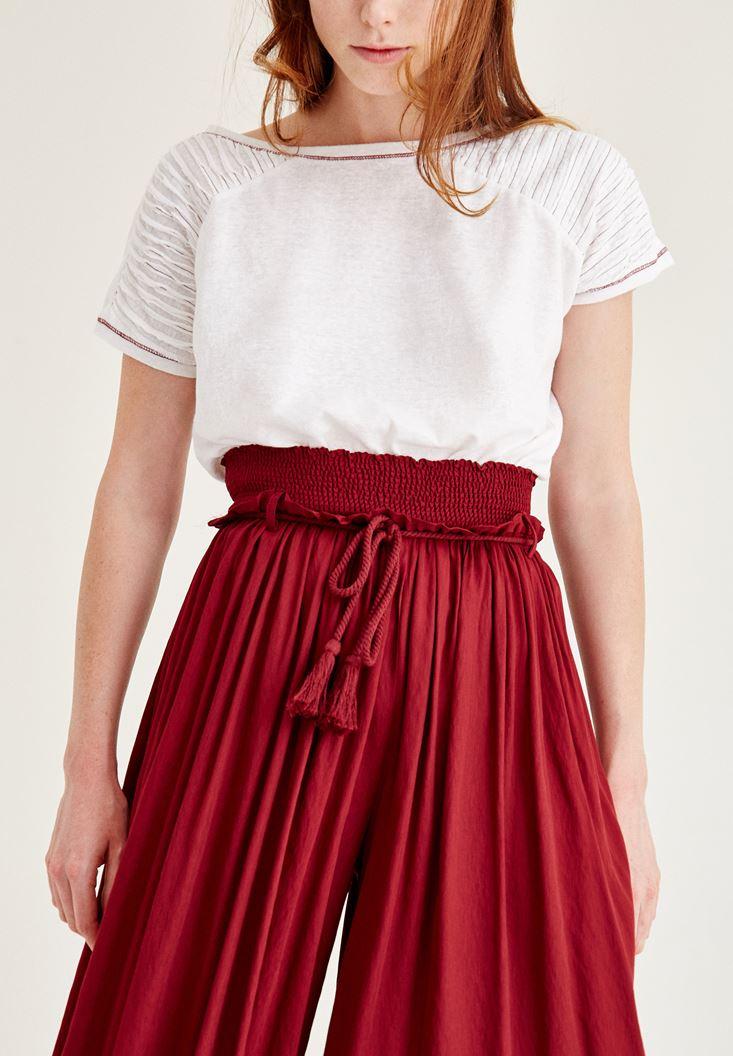 Bayan Bordo Lastik Detaylı Bol Pantolon