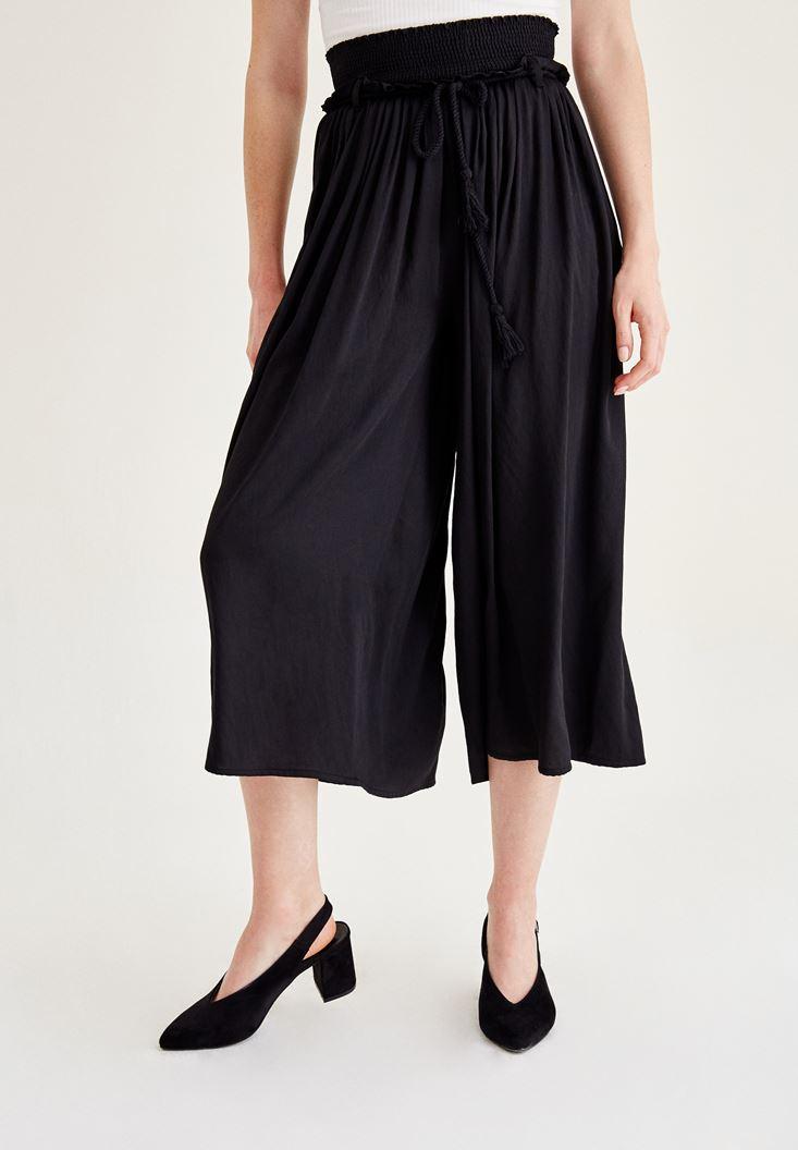 Bayan Siyah Lastik Detaylı Bol Pantolon