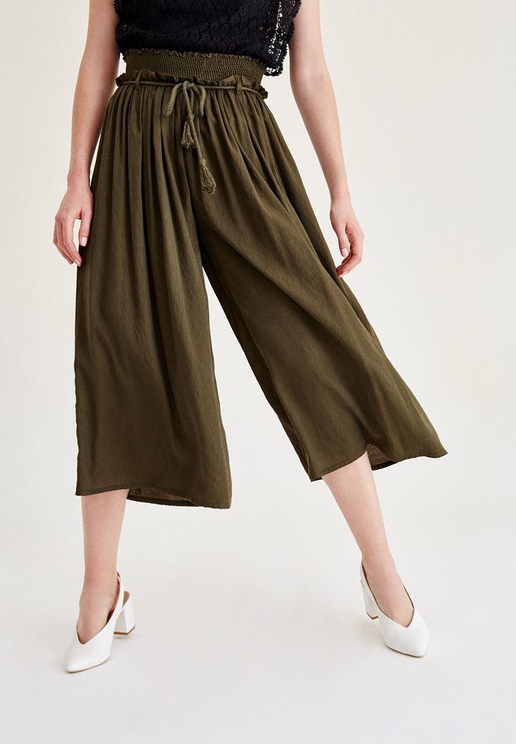 Yeşil Lastik Detaylı Bol Pantolon