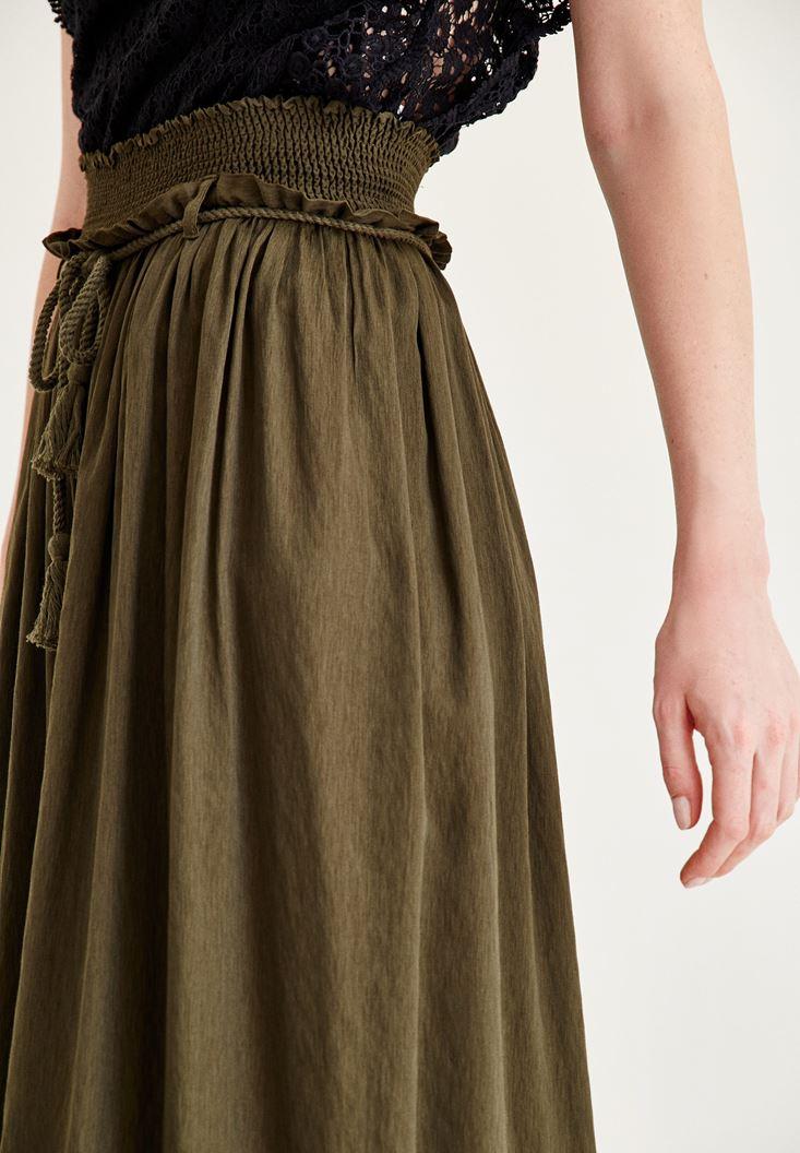 Bayan Yeşil Lastik Detaylı Bol Pantolon
