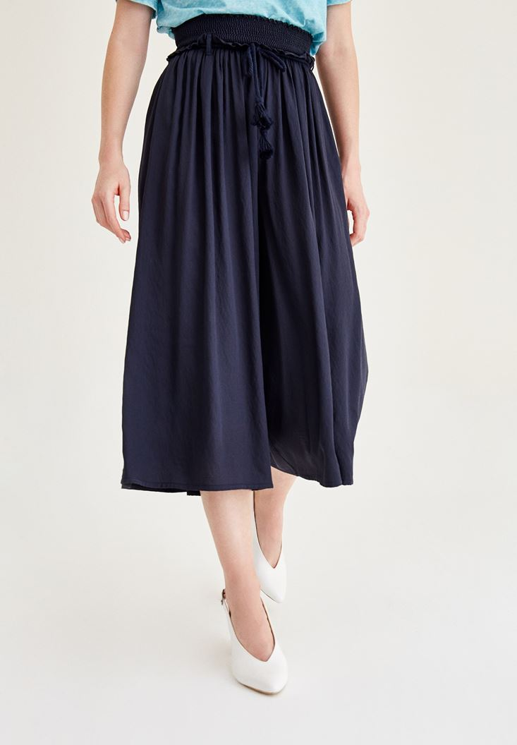 Lacivert Lastik Detaylı Bol Pantolon