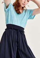 Bayan Lacivert Lastik Detaylı Bol Pantolon