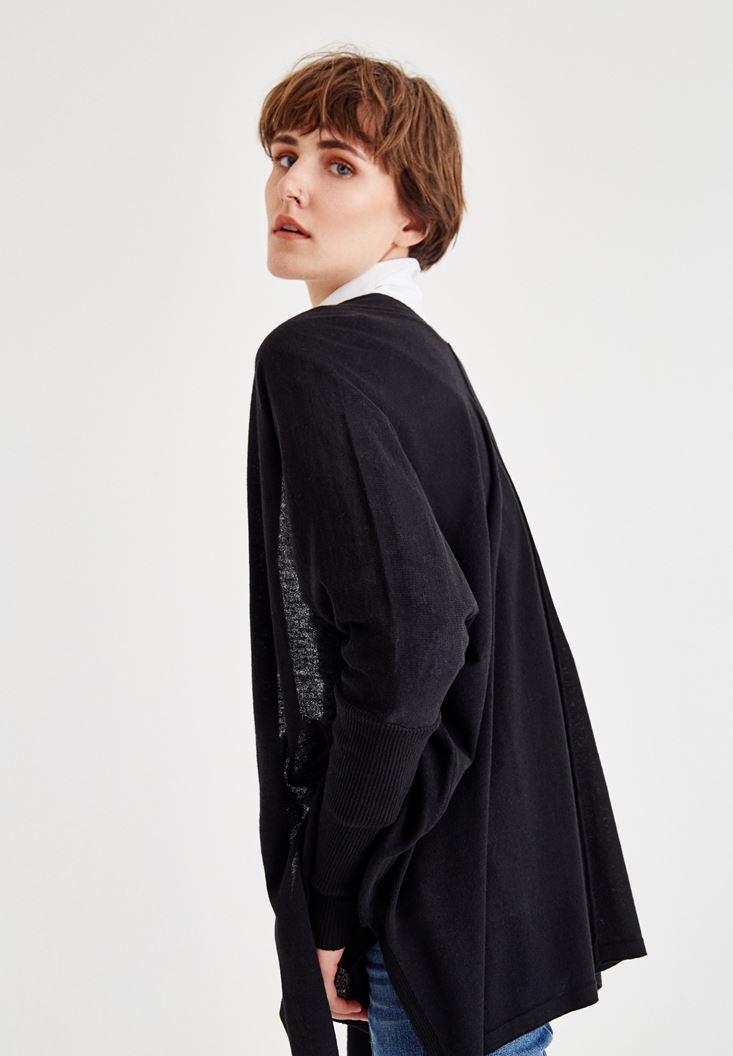 Bayan Siyah Yırtmaç Detaylı Uzun Hırka