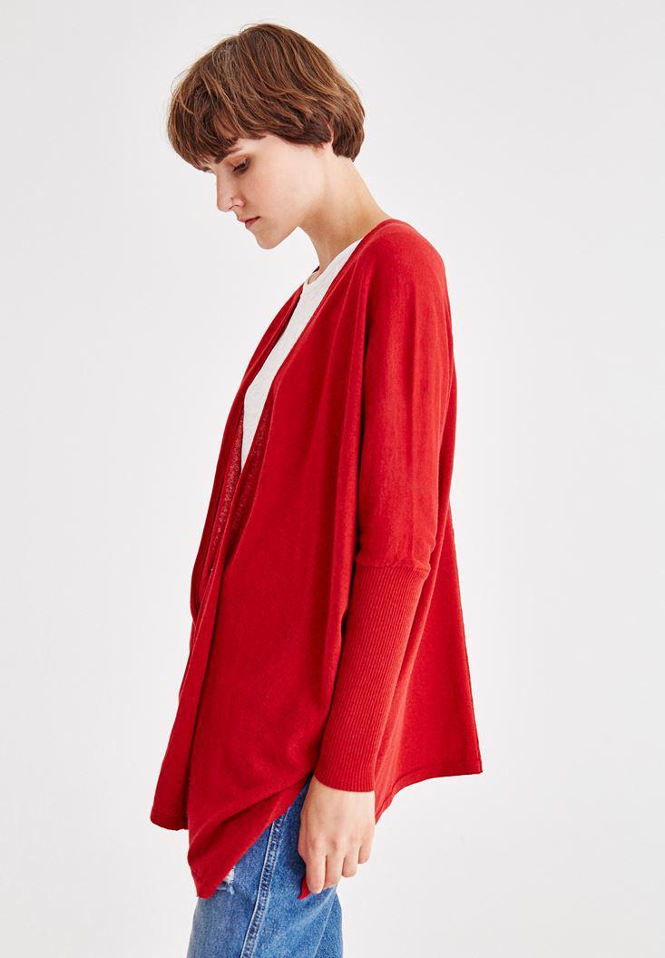 Bayan Kırmızı Yırtmaç Detaylı Uzun Hırka