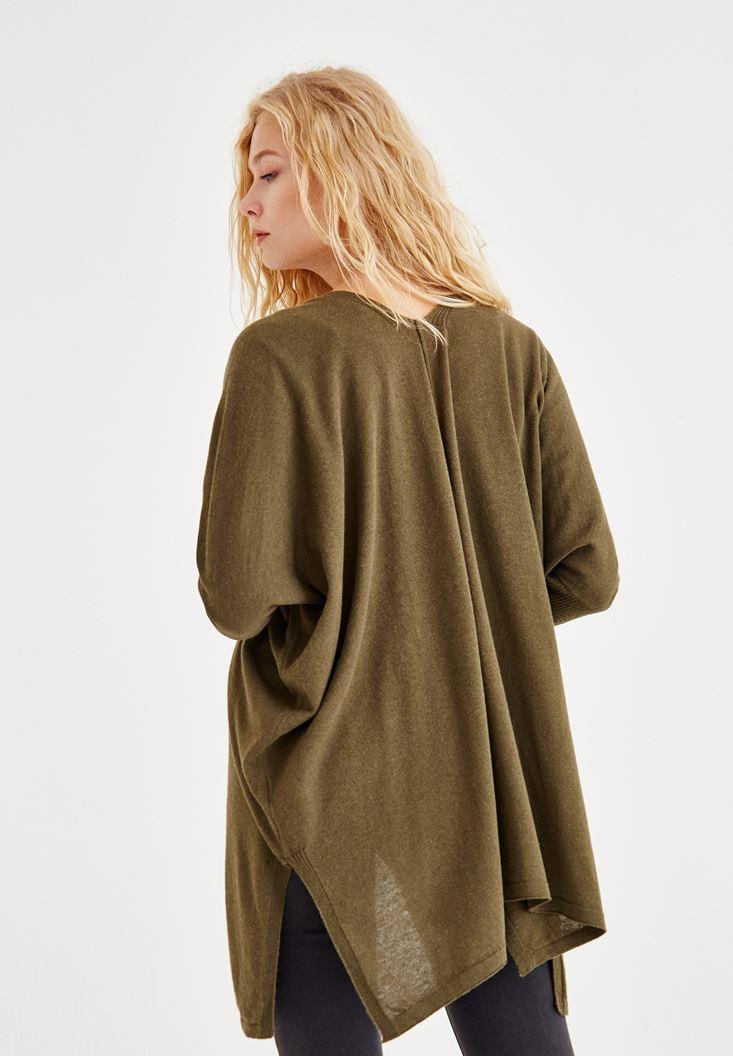 Bayan Yeşil Yırtmaç Detaylı Uzun Hırka