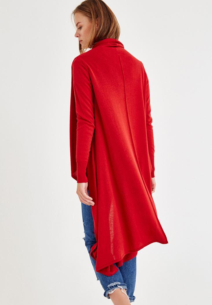 Bayan Kırmızı Uzun Kollu Asimetrik Hırka