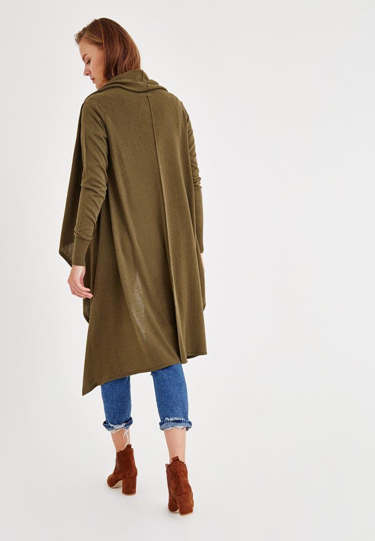 Bayan Yeşil Uzun Kollu Asimetrik Hırka
