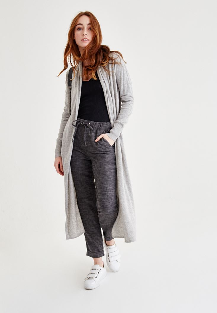Grey Long Sleeve Wool Cardigan