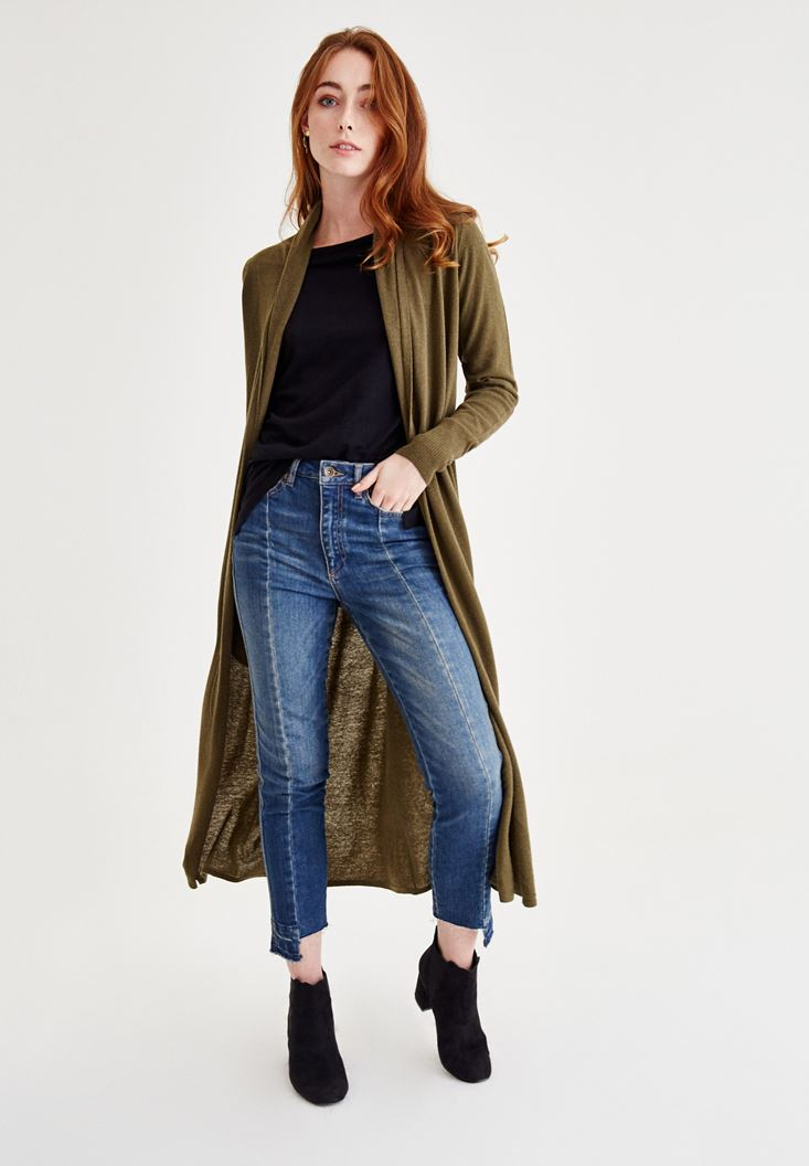Green Long Sleeve Wool Cardigan