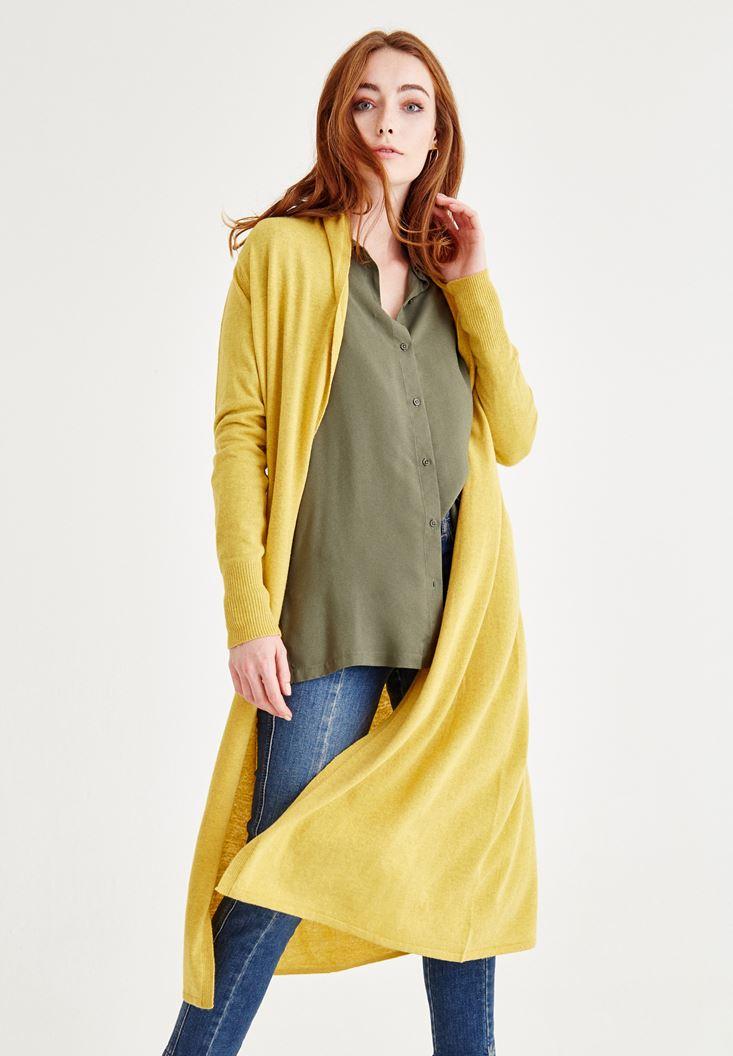 Sarı Uzun Kollu Yün Hırka