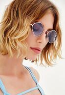 Bayan Mavi Altıgen Camlı Gözlük