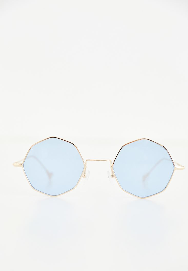 Blue Geometric Framed Sunglasses
