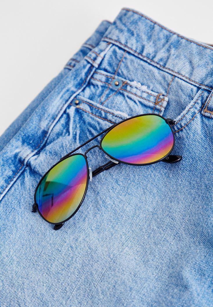 Bayan Çok Renkli Renkli Camlı Güneş Gözlüğü