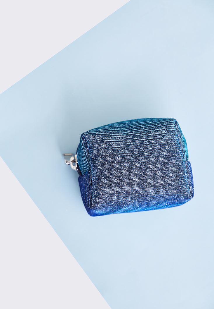 Bayan Mavi Simli Mini Cüzdan
